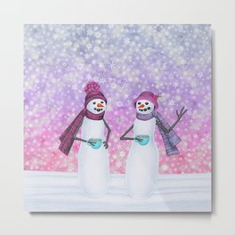 snowladies sipping tea Metal Print