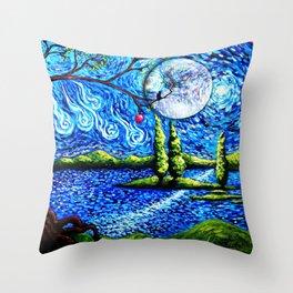 cat starry night Throw Pillow
