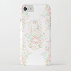 Modern girly pink mint gold Hamsa hand of fatima iPhone 7 Slim Case