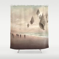 giants Shower Curtains featuring Floating Giants by Christian Schloe