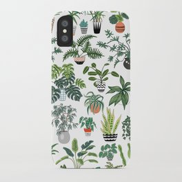 plants and pots pattern iPhone Case