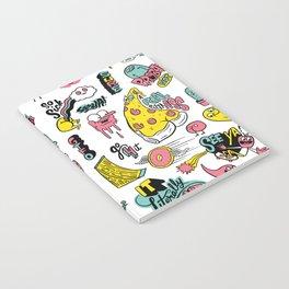 Weirdo Pizza Donut Sword Skull Pattern Notebook