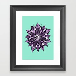 Purple Mandala Like Abstract Flower Framed Art Print