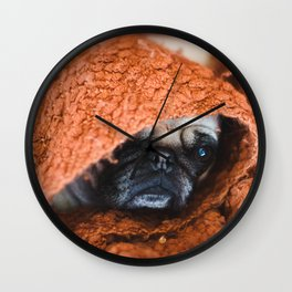 Nat. Geo Pug in a Blanket Wall Clock