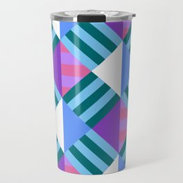 Geometric Block Stripes Pattern - Blue & Purple Travel Mug
