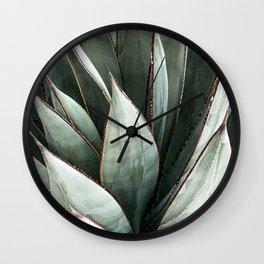 Cactus Leaves // Green Southwest Home Decor Vibes Desert Hombre Plant Photograph Wall Clock