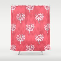 coral Shower Curtains featuring Coral by Marta Li