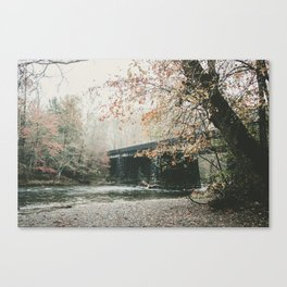 Bridge over Oconaluftee River in North Carolina Canvas Print
