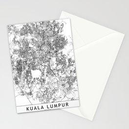 Kuala Lumpur White Map Stationery Cards