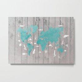 world map 100 fish and surf #worldmap #map Metal Print