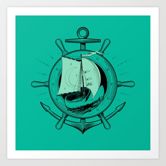 Anchor Wheel & Wooden Sailer Art Print