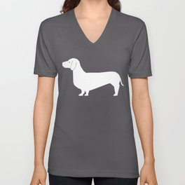 Dachshund silhouette minimal grey and white dog lover home decor gifts accessories silhouette Unisex V-Neck