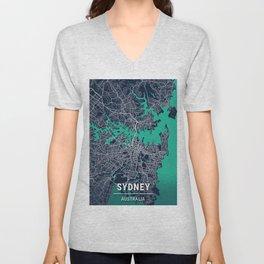 Sydney Blue Dark Color City Map Unisex V-Neck