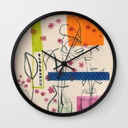 Japanese canteen -line drawing leaves #7 Wall Clock