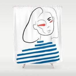 Le pull marine line illustration Shower Curtain