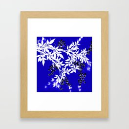 LEAF AND TREE BRANCHES BLUE AD WHITE BLACK BERRIES Framed Art Print