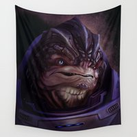 mass effect Wall Tapestries featuring Mass Effect: Grunt by Ruthie Hammerschlag