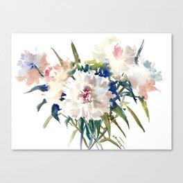 White Peonies, Asian Watercolor design Garden Peonies White lofral art Canvas Print