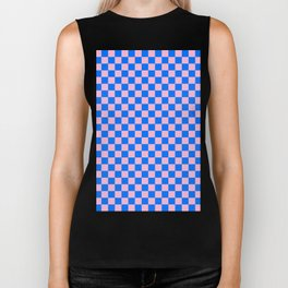 Cotton Candy Pink and Brandeis Blue Checkerboard Biker Tank