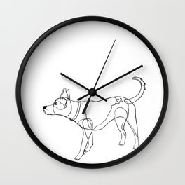 Minimalist line art drawing of Year of the Dog Wall Clock