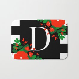 D - Monogram Black and White with Red Flowers Bath Mat