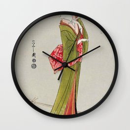Itsutomi by Eishi Hosoda (1756-1829) a traditional Japanese Ukyio-e style  of a Japanese woman in a kimono and a shamisen on the floor Wall Clock