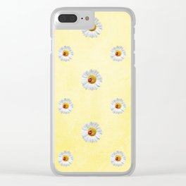 Daisies in love- Yellow Daisy Flower Floral pattern with Ladybug Clear iPhone Case