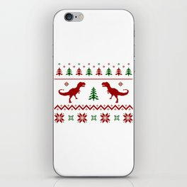 Christmas Ugly Dinosaur Sweater pattern iPhone Skin