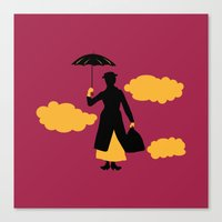 mary poppins Canvas Prints featuring Mary Poppins by FilmsQuiz