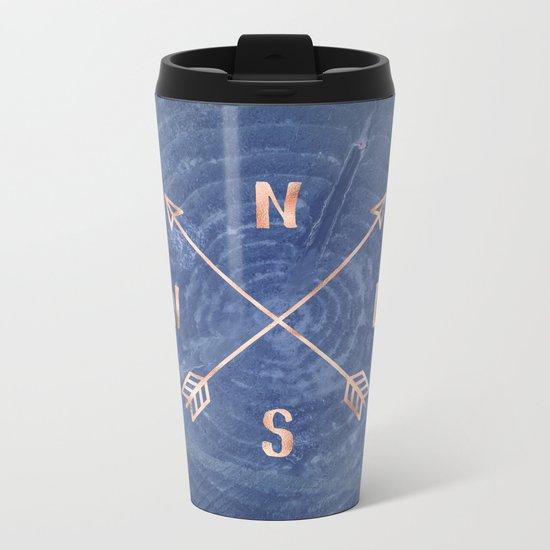 Rosegold and Blue Compass Metal Travel Mug