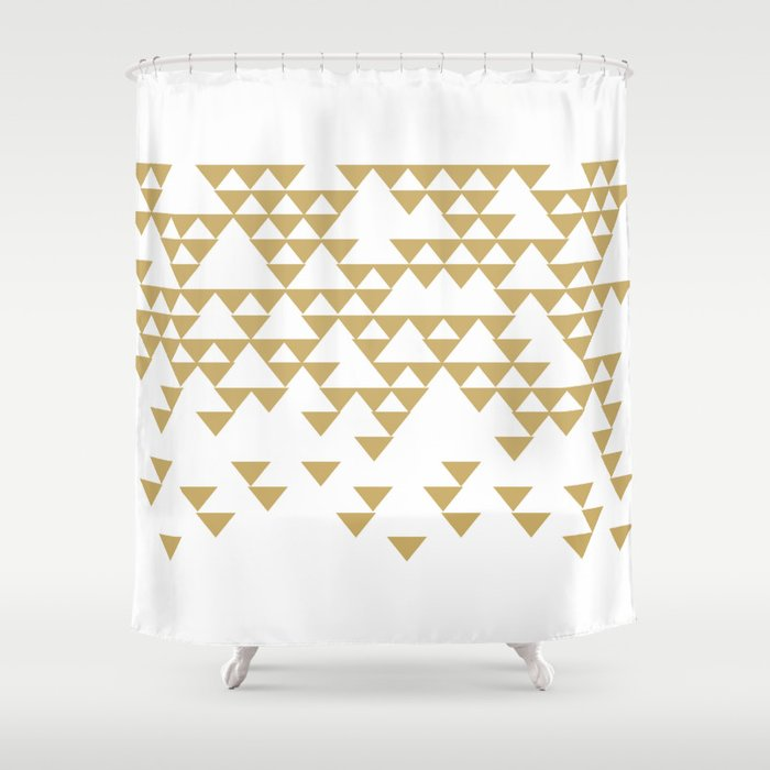 Gold Geometric Shower Curtain By Beyondwonderland