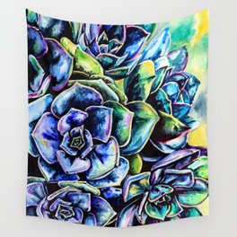 Watercolor Succulents art painting Wall Tapestry