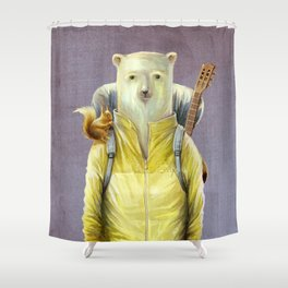 bear-tourist Shower Curtain