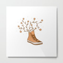 Converse All Star and Flowers Metal Print