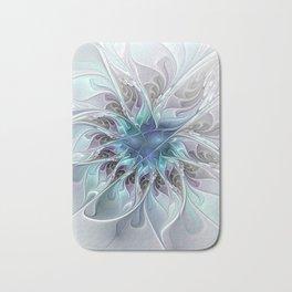 Flourish Abstract, Fantasy Flower Fractal Art Bath Mat