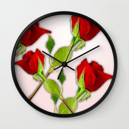 Red Rose For My Valentine Day Wall Clock