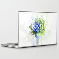 seahawks Laptop & iPad Skins featuring Seattle 12th Man Seahawks Rose Watercolor Painting Art by Olechka