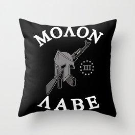 Molon Labe (Black Version) Throw Pillow