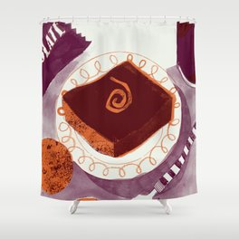 Let Them Eat Cake - Chocolate Orange Brownie Shower Curtain