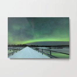 Aurora borealis over a bridge in winter, Finnish Lapland Metal Print