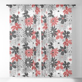 Funky Flowers in Red, Gray, Black and White Sheer Curtain
