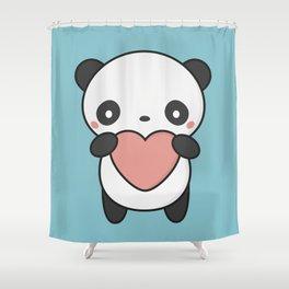 Kawaii Cute Panda With A Heart Shower Curtain