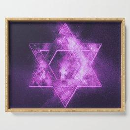 Magen David symbol, Star of David. Abstract night sky background. Serving Tray
