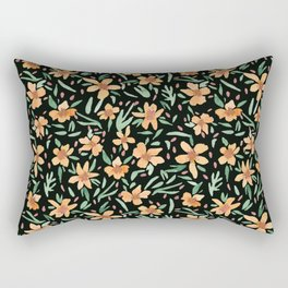 Peaches and Green Watercolor Floral Rectangular Pillow