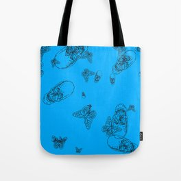 Blue Skulls and Butterflies Tote Bag