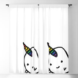 CUTE NARWHAL - RAINBOW HORN Blackout Curtain