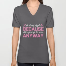 Breast Cancer Quote   Awareness Ribbon Fighter Unisex V-Neck