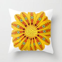 Gazania Flower Tribal Peacock Abstract Throw Pillow