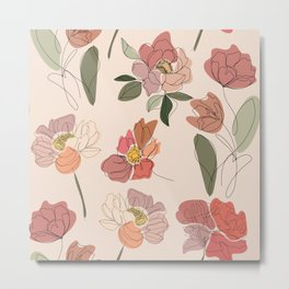 Modern Botanical Line Drawing Flower Pattern  Metal Print