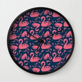 Cygne (Block cut swans) Wall Clock